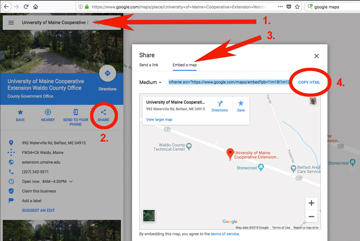 How To Embed A Google Map Into A Web Page Plugged In For Umaine