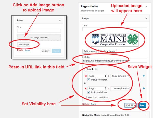 screenshot of adding an image widget