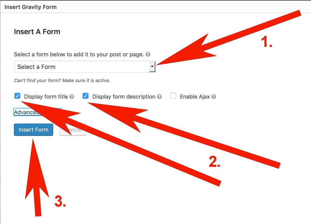 screenshot of WordPress's Insert a Form interface