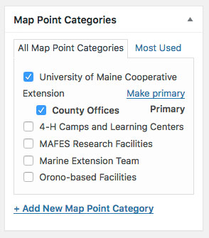 screenshot showing Map Point Categories WordPress interface