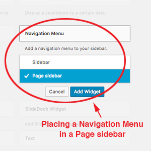 screenshot of how to place a navigation menu in a page sidebar