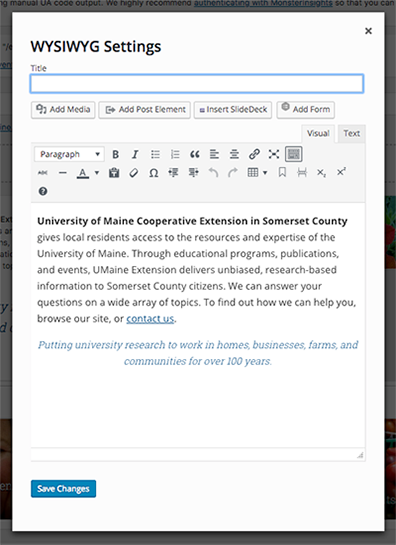 screenshot of the rich content editor window