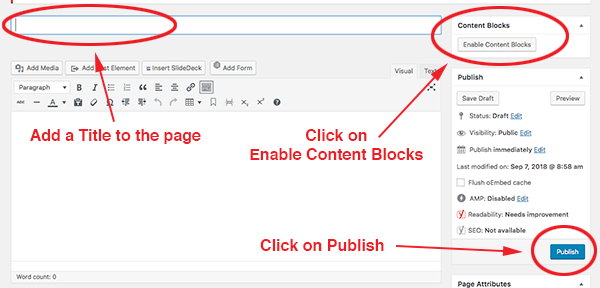 screenshot of setting up a new page for content blocks