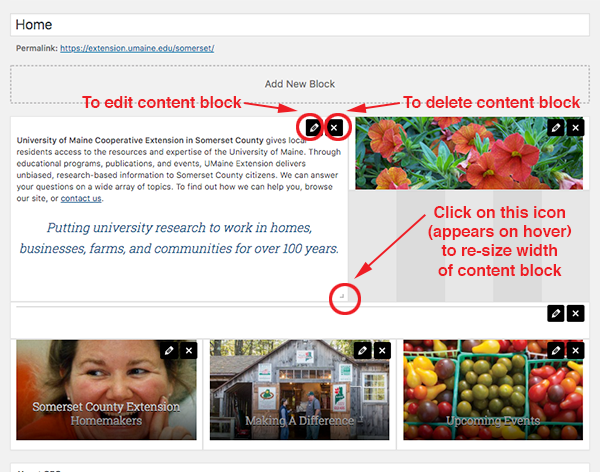screenshot of somerset county home page content block layout sample