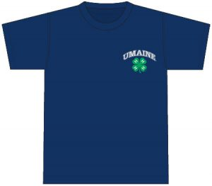 4-H T-Shirt: navy blue, printed on front on chest over pocket with full arched UMaine and 4-H logos