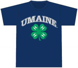 4-H T-Shirt: navy blue, printed on front with full arched UMaine and 4-H logos