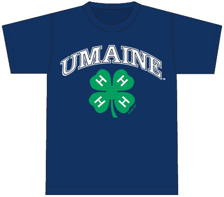 4-H T-Shirt: light blue, printed on back with arched UMaine and 4-H logos