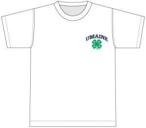 4-H T-Shirt: white, printed over front chest pocket with arched UMaine logo and 4H logo
