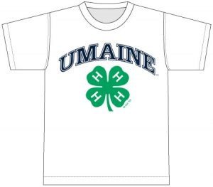 4-H T-Shirt: white, printed on front with arched UMaine logo and 4H logo