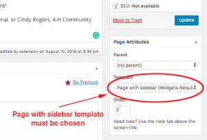 screenshot of selecting a page template