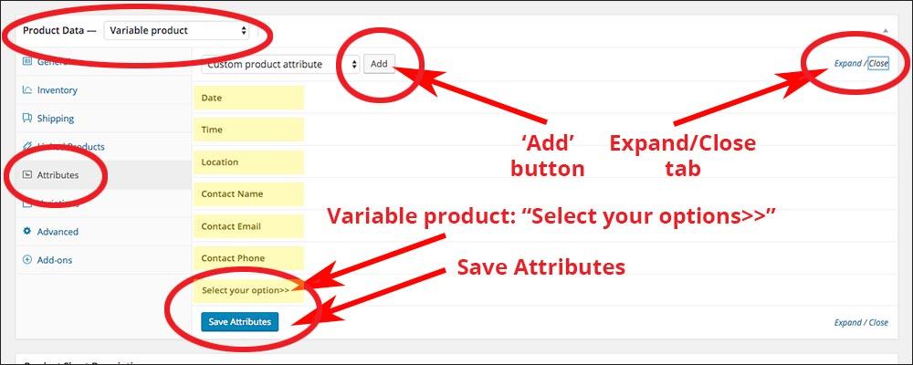 screenshot of the closed attribute tab