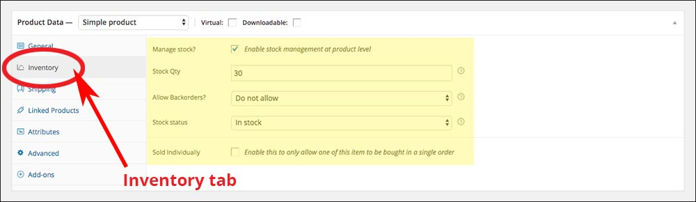 The Inventory tab under Product Data. Check boxes and fields with yellow highlight must be completed.