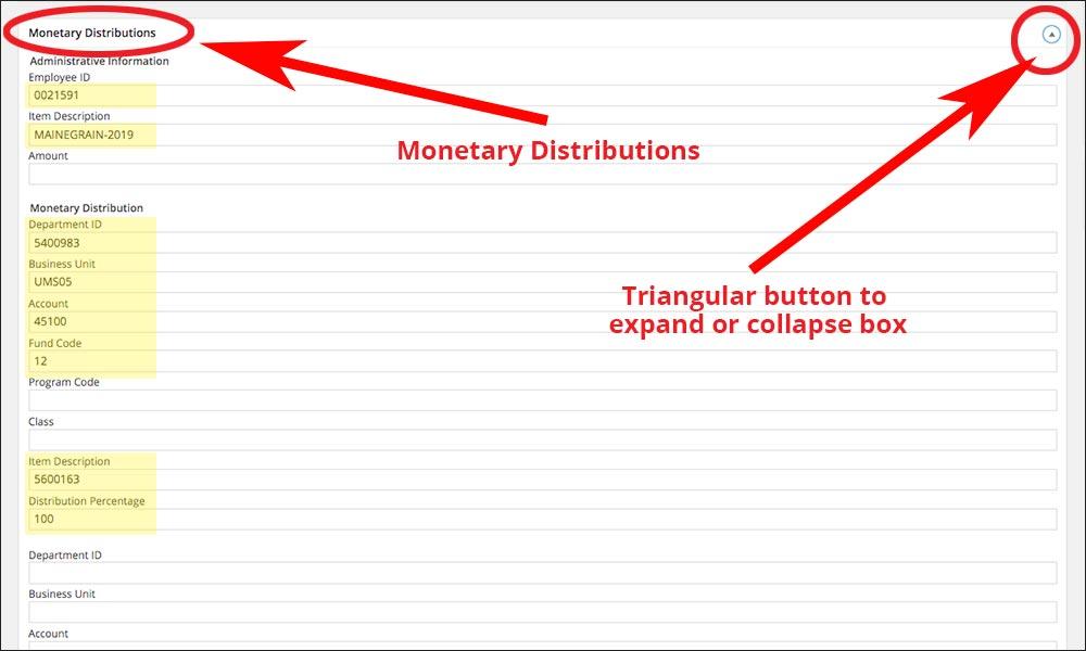 screenshot of Monetary Distributions open tab