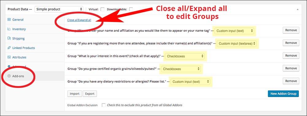 screenshot of the add-ons tab