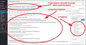 screenshot of Areas where a product title, long description and category may be added.