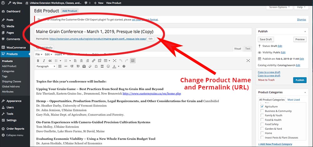 screenshot of where to change the product name and permalink URL