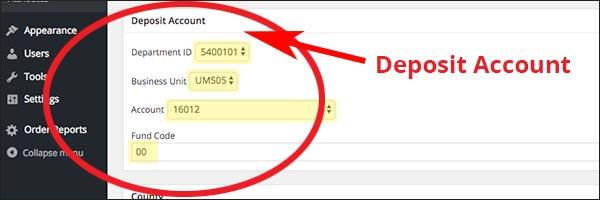 screenshot of the deposit account chartfield