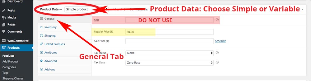 screenshot with Product Data's General tab