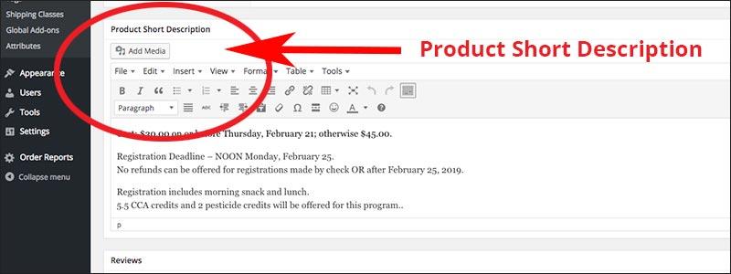 Screenshot of Product Short Description visual editor
