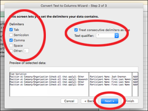 screenshot of text to columns wizard step 1 of 3
