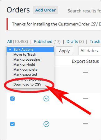 screenshot of selecting download to CSV under bulk actions