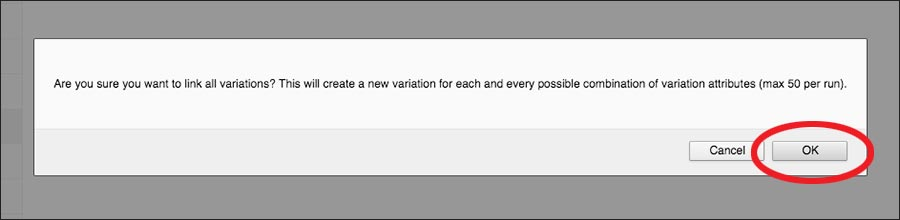 screenshot of first pop up box to appear when creating variations
