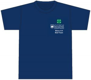 Navy blue t-shirt with breast pocket design with the 4-H clover centered above the extension logo above the club name