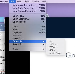 screenshot of the pull-down menu in Quicktime, to export an optimized photo