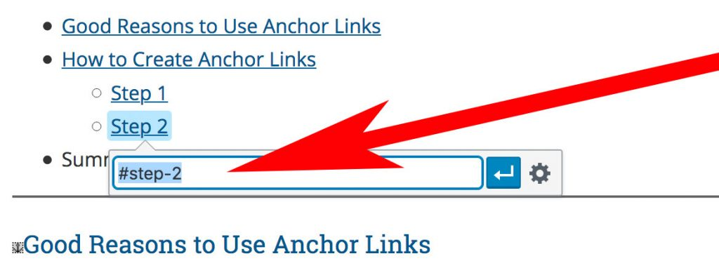 screenshot of an anchor link