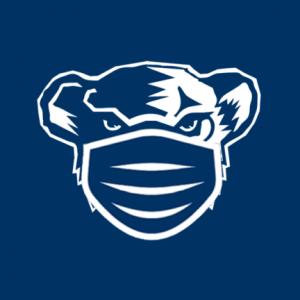 UMaine Black Bear wearing a mask