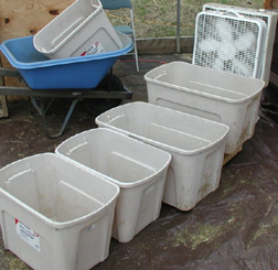 Fan winnowing with multiple containers