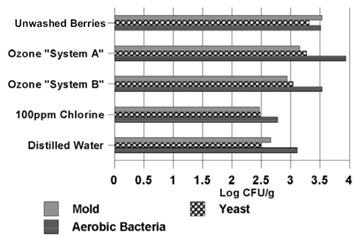 """Figure 2: This graph shows the populations of specific microbes on blueberries that were either left unwashed or were washed for two minutes with Ozone """"System A,"""" Ozone """"System B,"""" 100 parts per million chlorine, or distilled water. All figures listed here are microbe populations approximated from reading the graph, represented in units of Log CFU/g. On the unwashed blueberries, mold was at 3.6, yeast was at 3.3, and aerobic bacteria was at 3.55. On blueberries washed with Ozone """"System A,"""" mold was at 3.2, yeast was at 3.25, and aerobic bacteria was at 3.9. On blueberries washed with Ozone """"System B,"""" mold was at 2.9, yeast was at 3.1, and aerobic bacteria was at 3.6. On blueberries washed with 100 parts per million chlorine, mold was at 2.45, yeast was at 2.5, and aerobic bacteria was at 2.75. On blueberries washed with distilled water, mold was at 2.65, yeast was at 2.5, and aerobic bacteria was at 3.15."""
