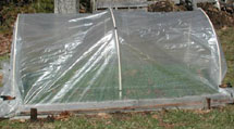 Plastic covered raised bed.