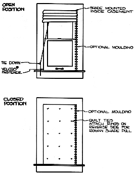 Roman shade in open and closed positions, with molding