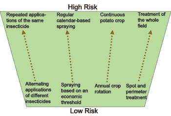 schematic showing high and low risk management practices