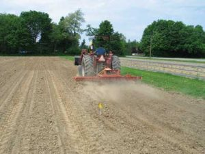 Ideal soil moisture conditions for tine cultivation.