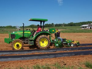 Laying plastic mulch and trickle irrigation line