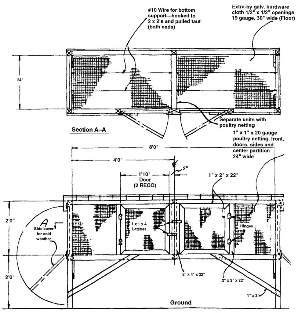 Diagram showing rabbit hutch specifications