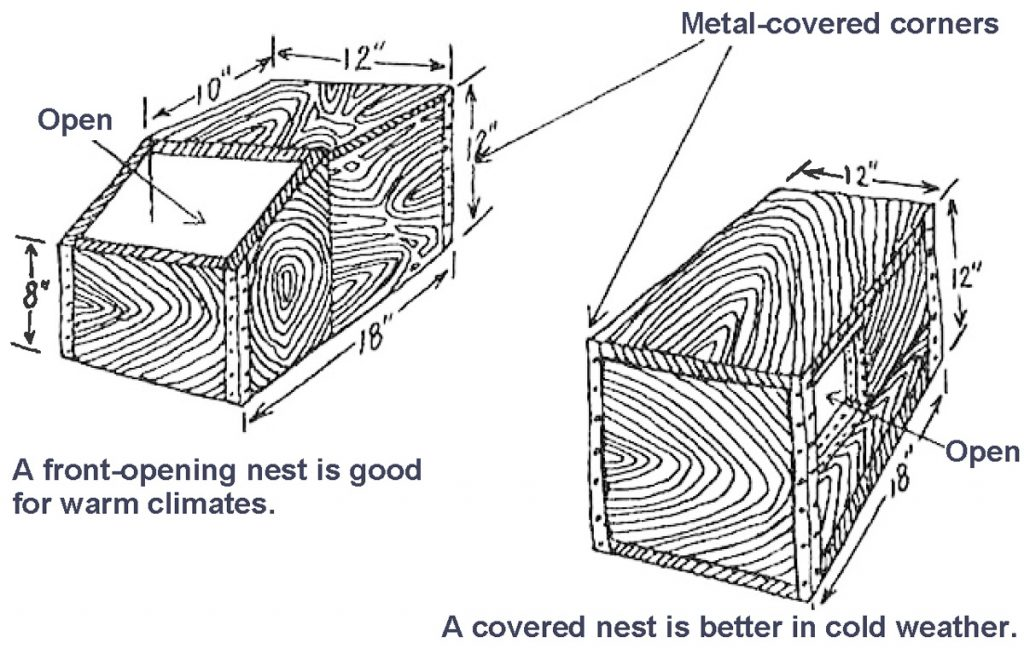 """diagram showing the dimensions of a rabbit nest box: 18"""" x 12"""" x 12"""" with metal-covered corners. A front-opening nest is good for warm climates; a covered nest is better in cold weather."""