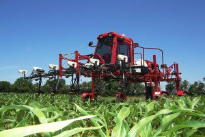 Precision farm equipment in field