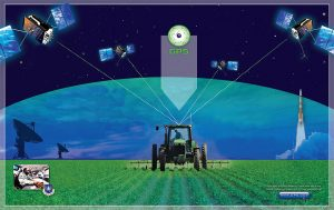 Illustration of tractor using satellite technology to spray crops in a field