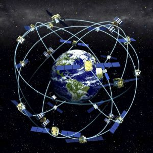 Illustration showing satellite positions/paths around Earth
