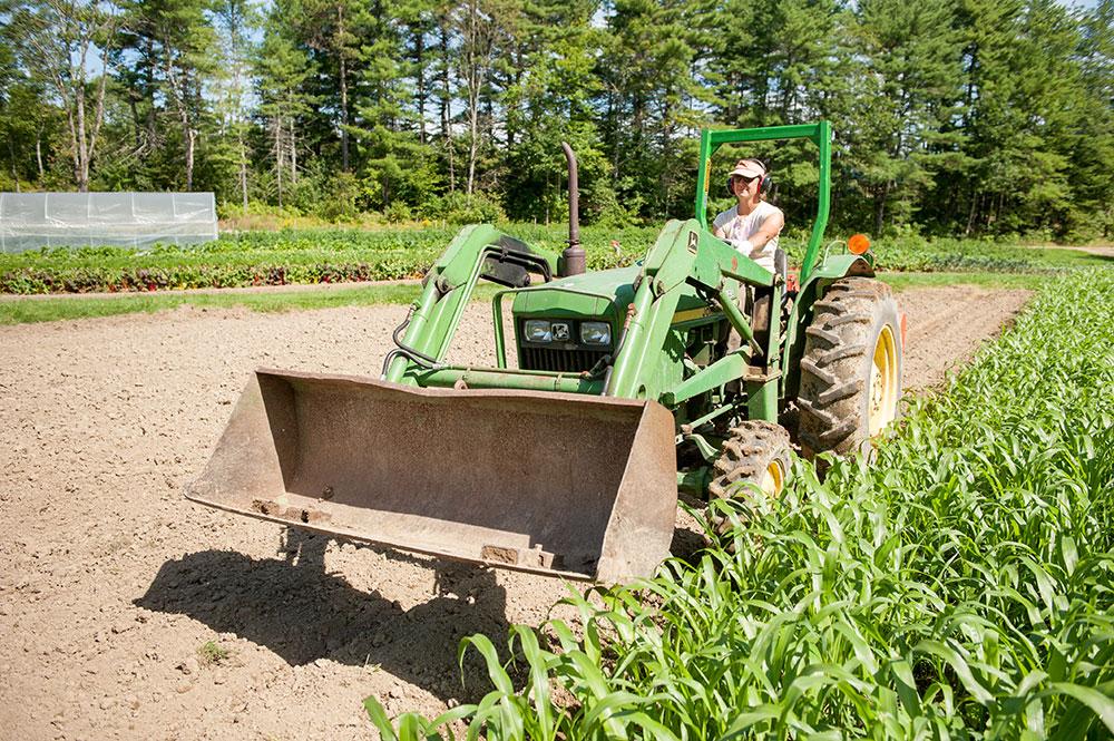 farmer on tractor in corn field