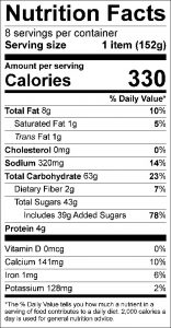 Apple Rolls with Syrup Food Nutrition Facts Label (click to view)