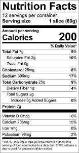 Cheese Bread Food Nutrition Facts Label (click for details)