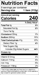 Fruit Surprise Food Nutrition Facts Label (click to view)