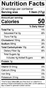Oatmeal Cookies Food Nutrition Facts Label (click to view)