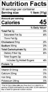 Peanut Butter Cookies Food Nutrition Facts Label (click to view)