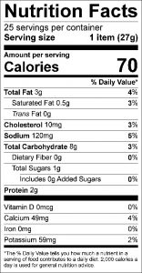 Potato Skillet Cakes Food Nutrition Facts Label
