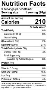 Tuna Biscuit Squares Food Nutrition Facts Label (click to view)